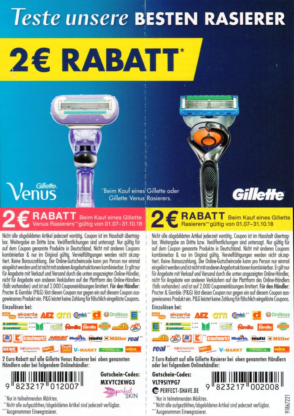 2€ Coupons für alle Gillette oder Gillette Venus Rasierer bis 31.10.2018 [bundesweit]