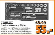 """[Globus Baumarkt] Proxxon Steckschlüsselsatz 56-teilig mit 1/2"""" + 1/4"""" Ratschen"""