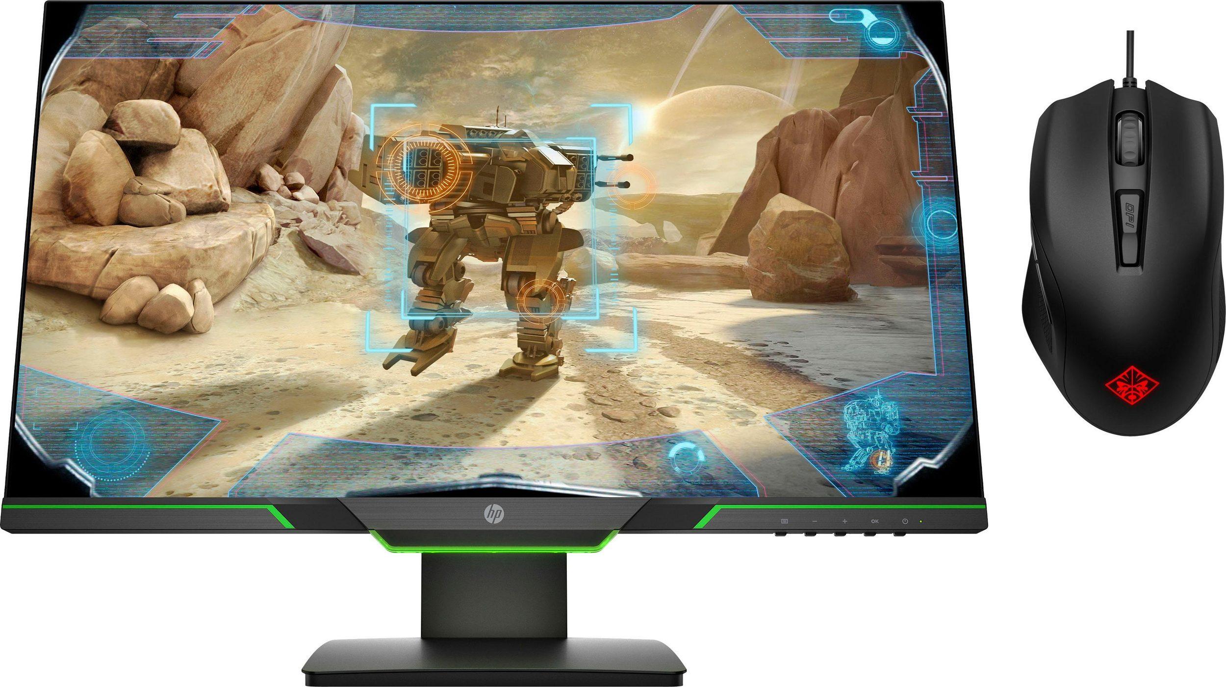 HP 25x FHD (27xq QHD für 379€) Gaming Monitor +gratis HP Omen 400 Maus - 144 Hz TN Panel, 1 ms, FreeSync und seitlich randlos