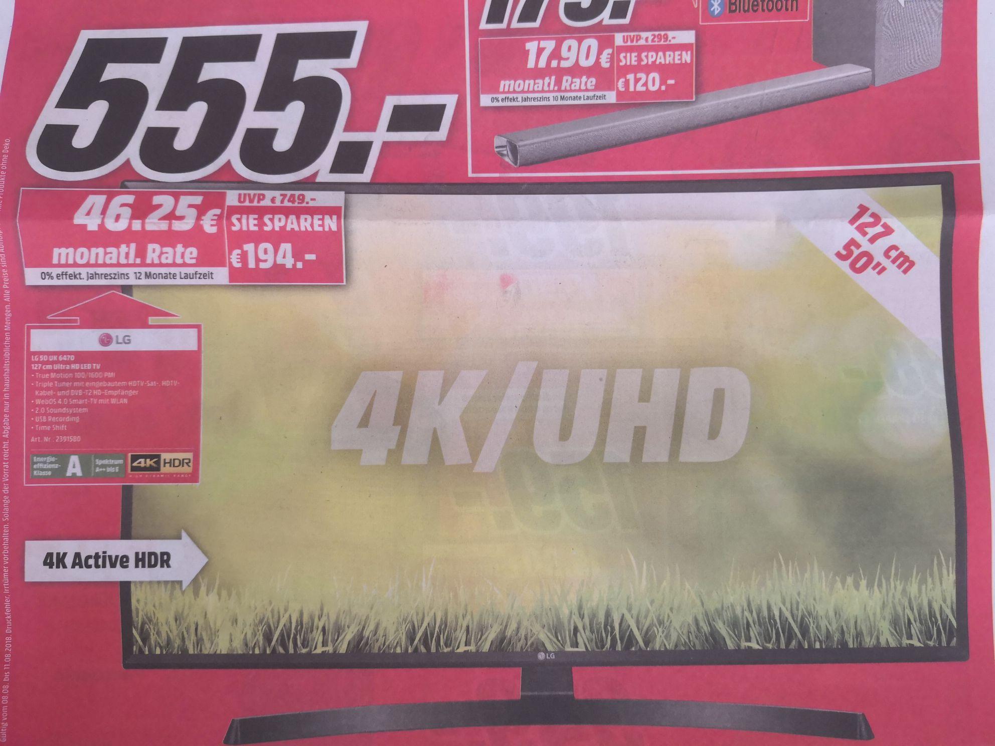 [LOKAL MM ESSEN] LG 50 UK 6470 4K HDR LED TV für 555€