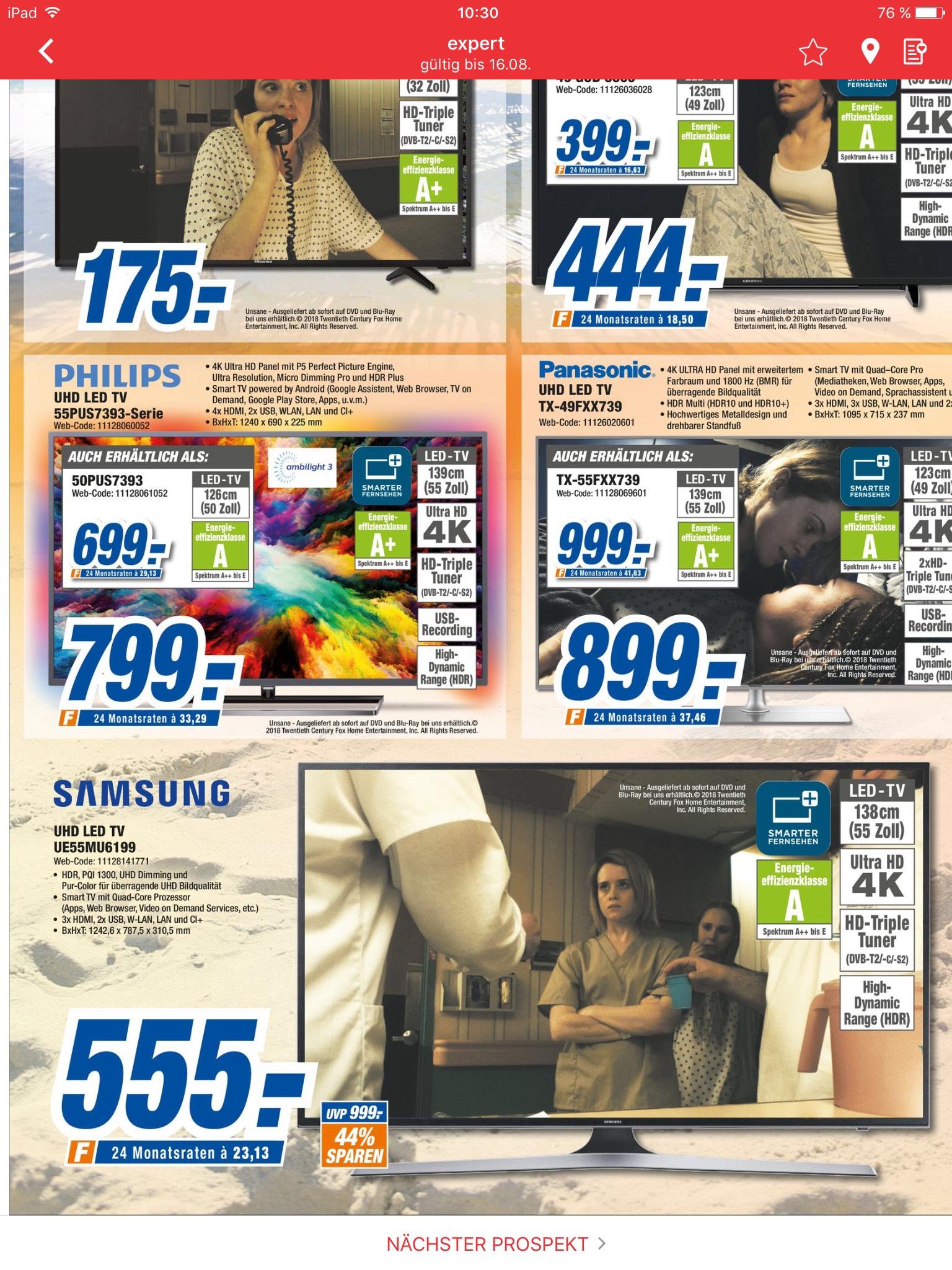Expert Müller (lokal schweinfurt ?) Samsung MU6199 138 cm (55 Zoll) Fernseher (Ultra HD, HDR, Triple Tuner, Smart TV) [Energieklasse A]