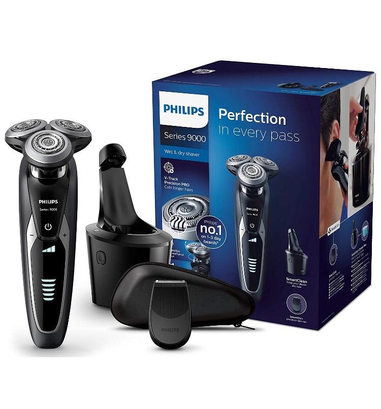Amazon.de Philips Elektrischer Nass-und Trockenrasierer Series 9000 mit V-Track-Pro-Klingen S9531/26, SmartClean Reinigungsstation, Präzisionstrimmer