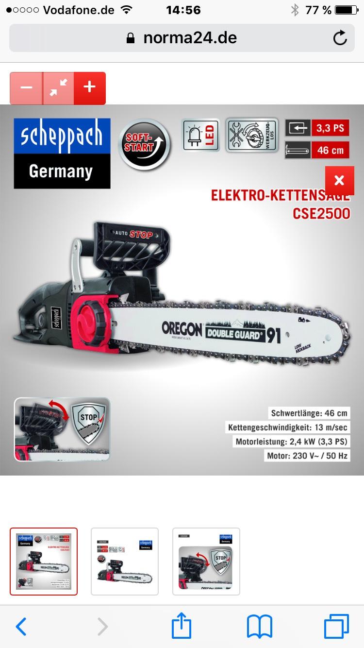 Scheppach Elektro-Kettensäge CSE2500 bei Norma 24