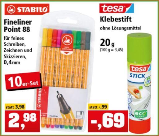 10er Pack Stabilo Fineliner (10 Farben) für 2,98 Euro und Tesa Stift ohne Lösungsmittel (20g) für 69 Cent [Thomas Philipps]