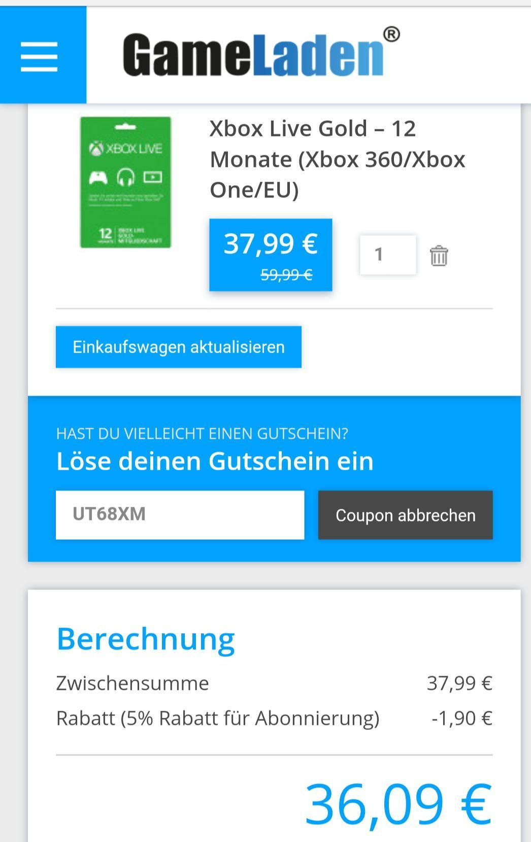 XBOX Live 12 Monate ohne VPN mit Gutscheincode für 36,09€