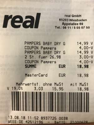 [Real] 2x Pampers Baby-Dry oder Pants Jumbo+ Packungen