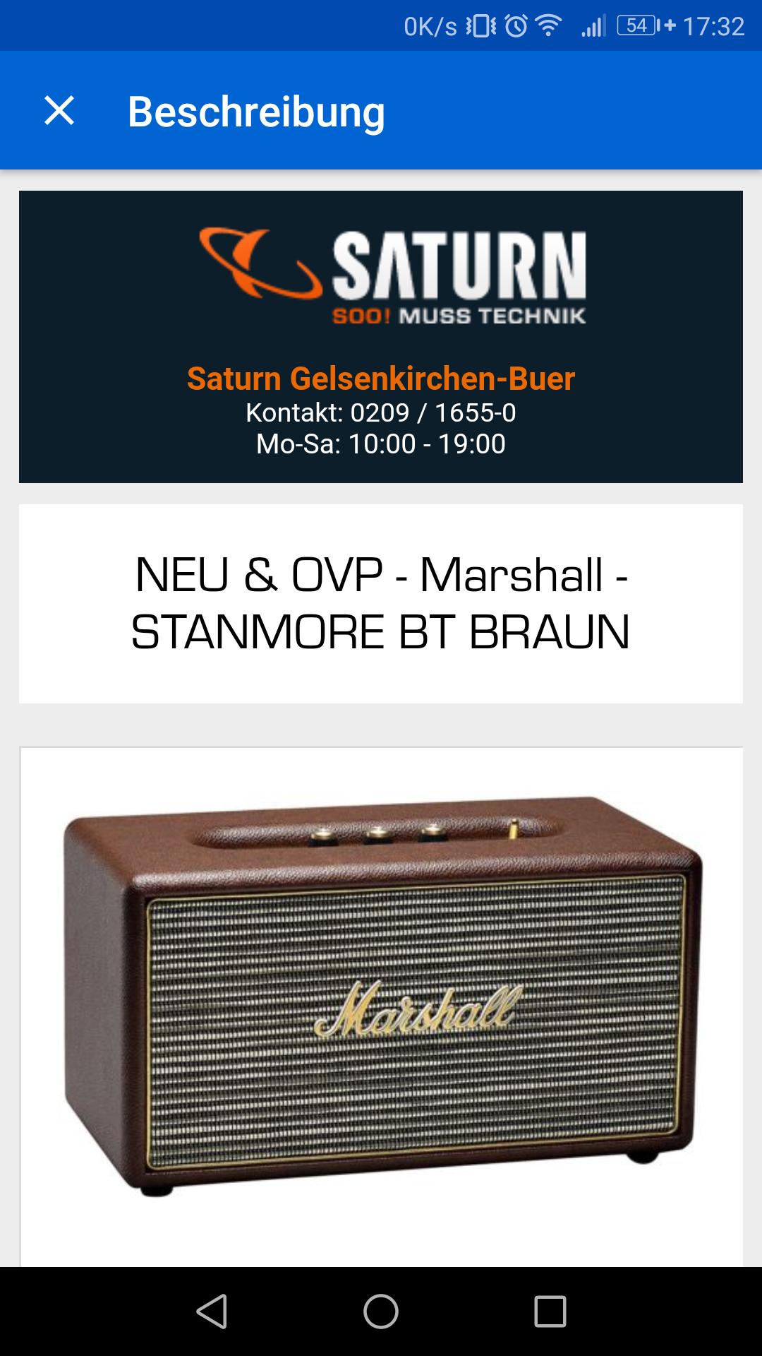 Marshall Stanmore - nur noch wenige verfügbar [ebay Saturn]