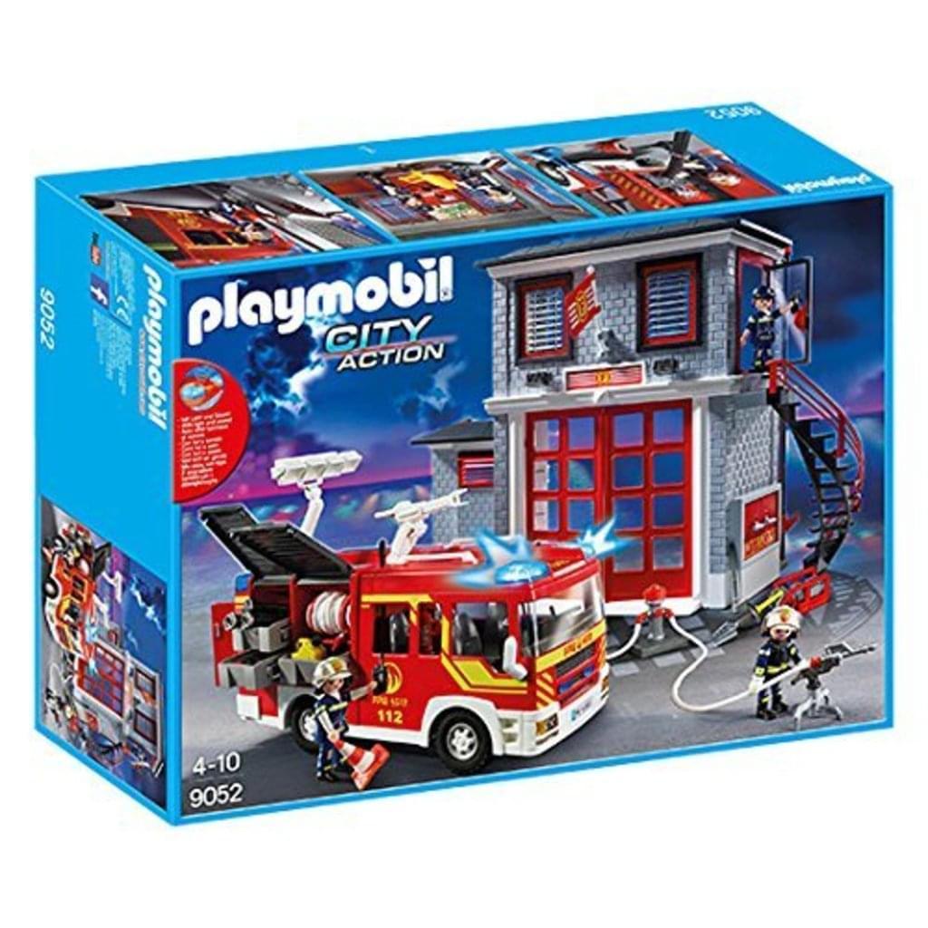 (REAL) Löschen wie die Profis mit Playmobil 9052 City Action Feuerwehr Mega Set mit Pumpe, Licht und Sound