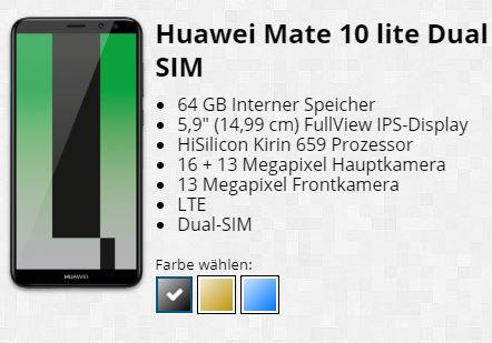 Huawei Mate 10 Lite in allen Farben bei Tophandy.de