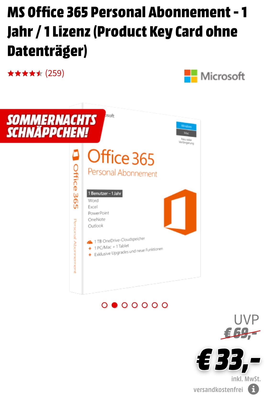 MS Office 365 Personal Abonnement - 1 Jahr / 1 Lizenz für 33€