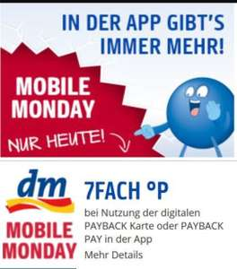 7-fach Payback-Punkte bei DM am Mobile Monday, 13. August 2018