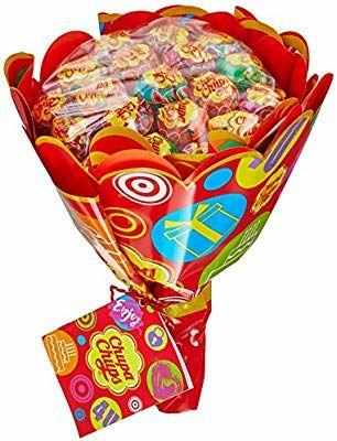 Chupa Chups Lutscher Blumenstrauss, 19 Lollis, 6 fruchtige Sorten, Geschenk-Idee: Geburtstag + Jahrestag + Valentinstag (Amazon Prime)