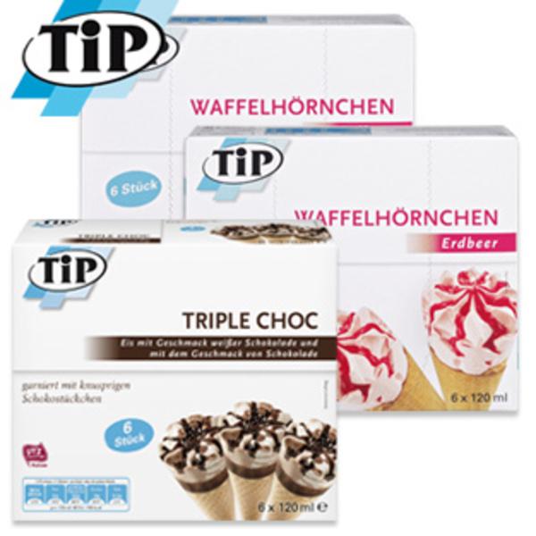 [REAL] 6er Eis Multipackungen von TIP in den Sorten Waffelhörnchen Erdbeere, Vanille-Haselnuss, Buttermilch-Zitrone oder Triple Choc 720ml für nur 1€