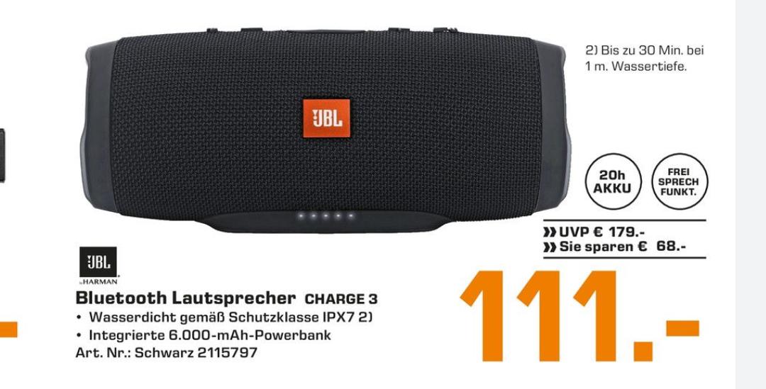 JBL Charge 3 Bluetooth Lautsprecher schwarz [Saturn on-&offline]