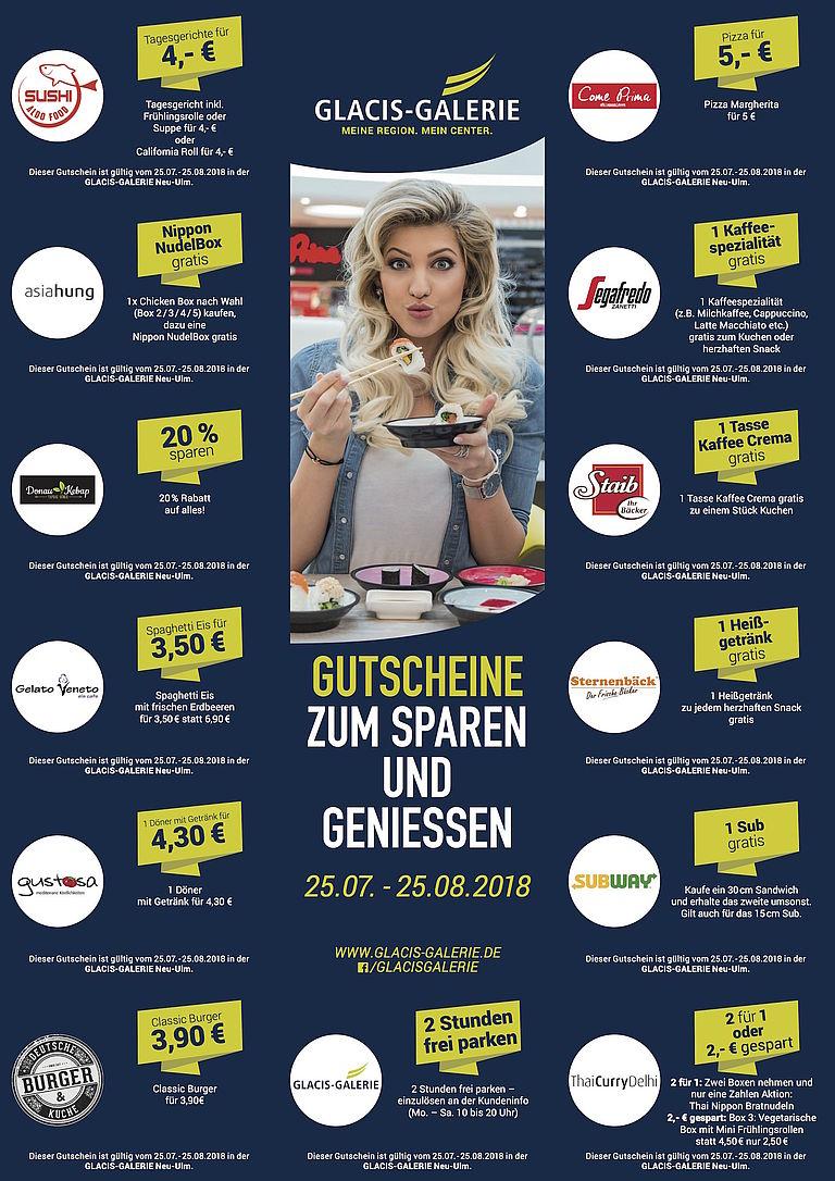 (Lokal) Neu-Ulm Glacis-Galerie Gastro Bereich: Subway, Asia Snacks, Parken, ...