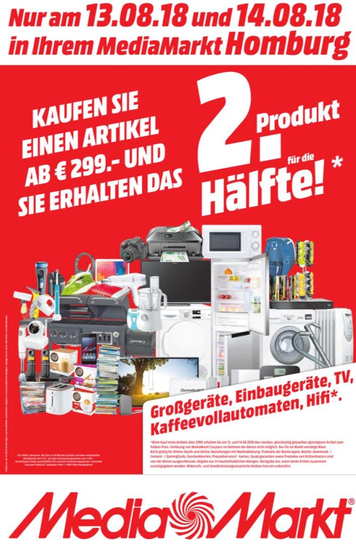 [lokal - Media Markt Homburg] Artikel ab 299 € kaufen, 2. günstigeren Artikel für 50 %