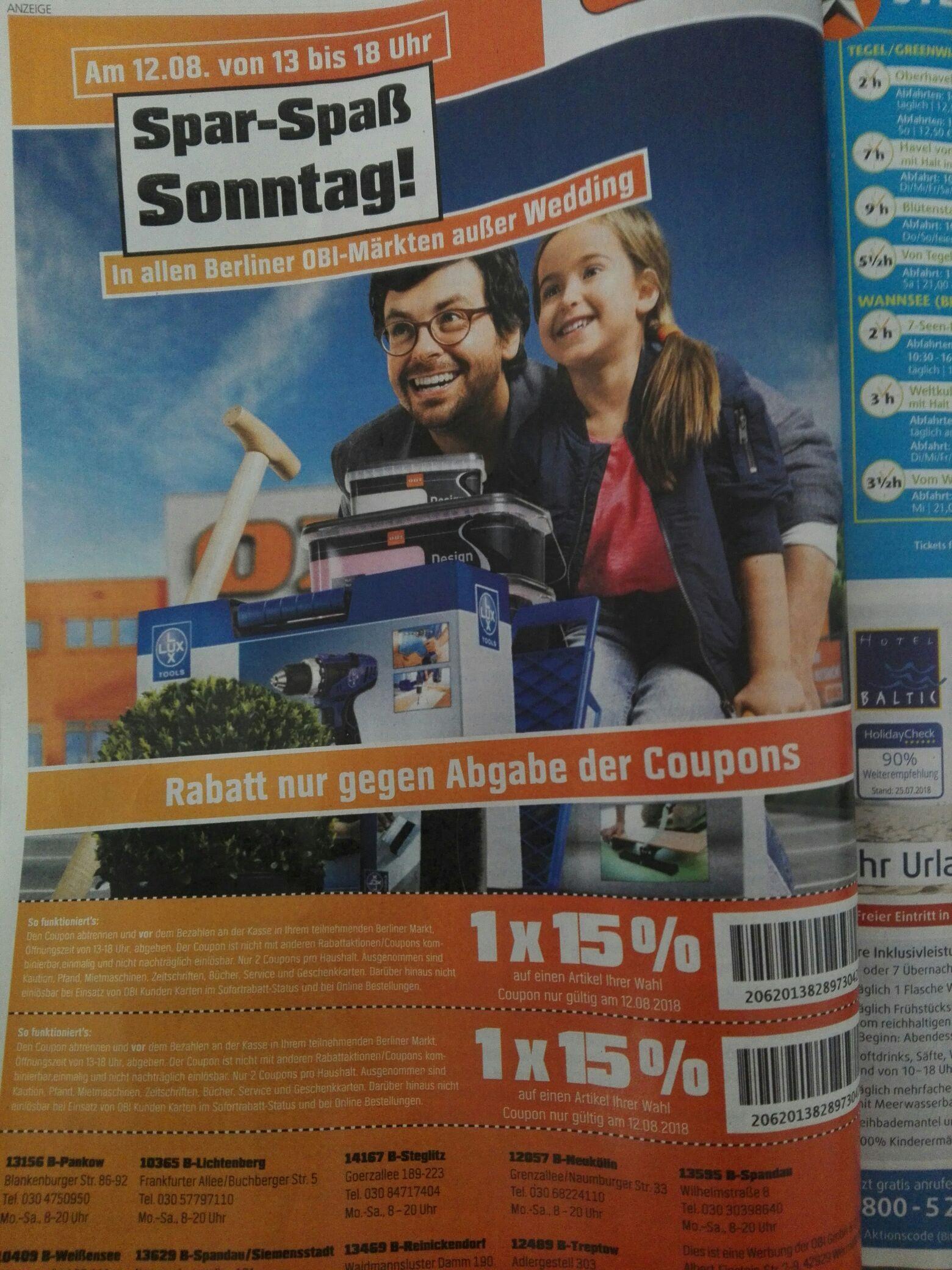 OBI Berlin 15% Rabatt mit Coupon am 12.08.18 von 13-18 Uhr