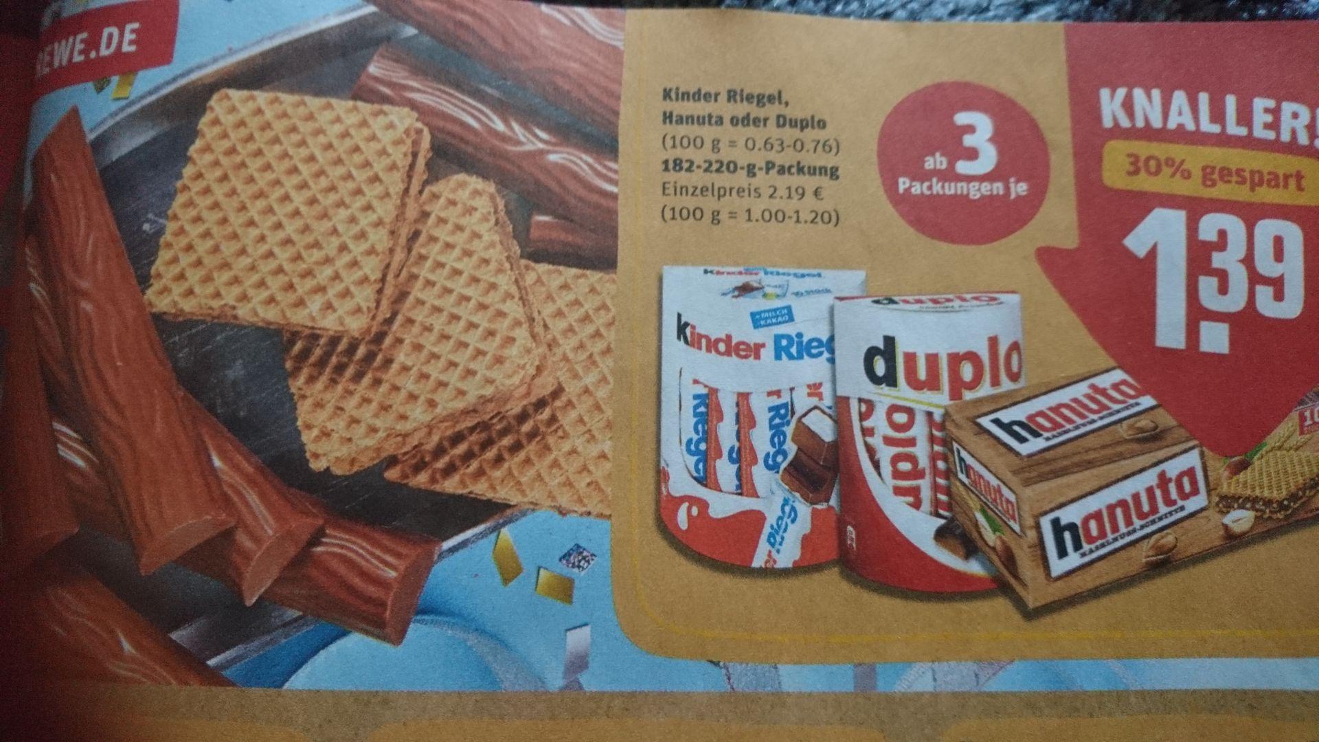 Rewe Duplo, Hanuta, Kinderriegel ab 3 Stück 1,39