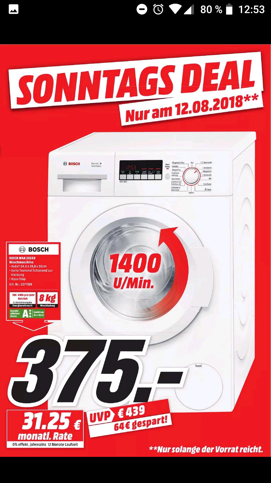 [MM] Bosch WAK28248  (8 kg, 1400 U/Min., A+++)   Waschmaschine [Sonntags Deal]