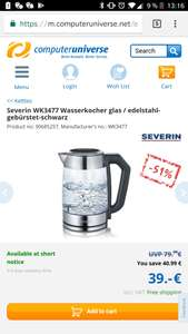 [Computeruniverse] Wasserkocher Severin wk3477 einstellbare Temp.,  Quickboil,  Warmhaltefunktion