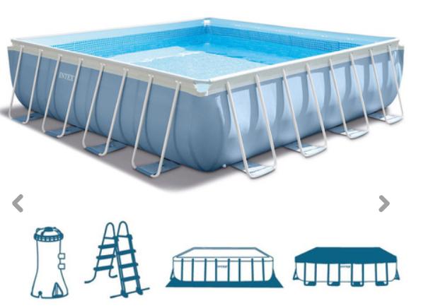 Intex Pool 427x427x107cm + Leiter Filterpumpe 28764