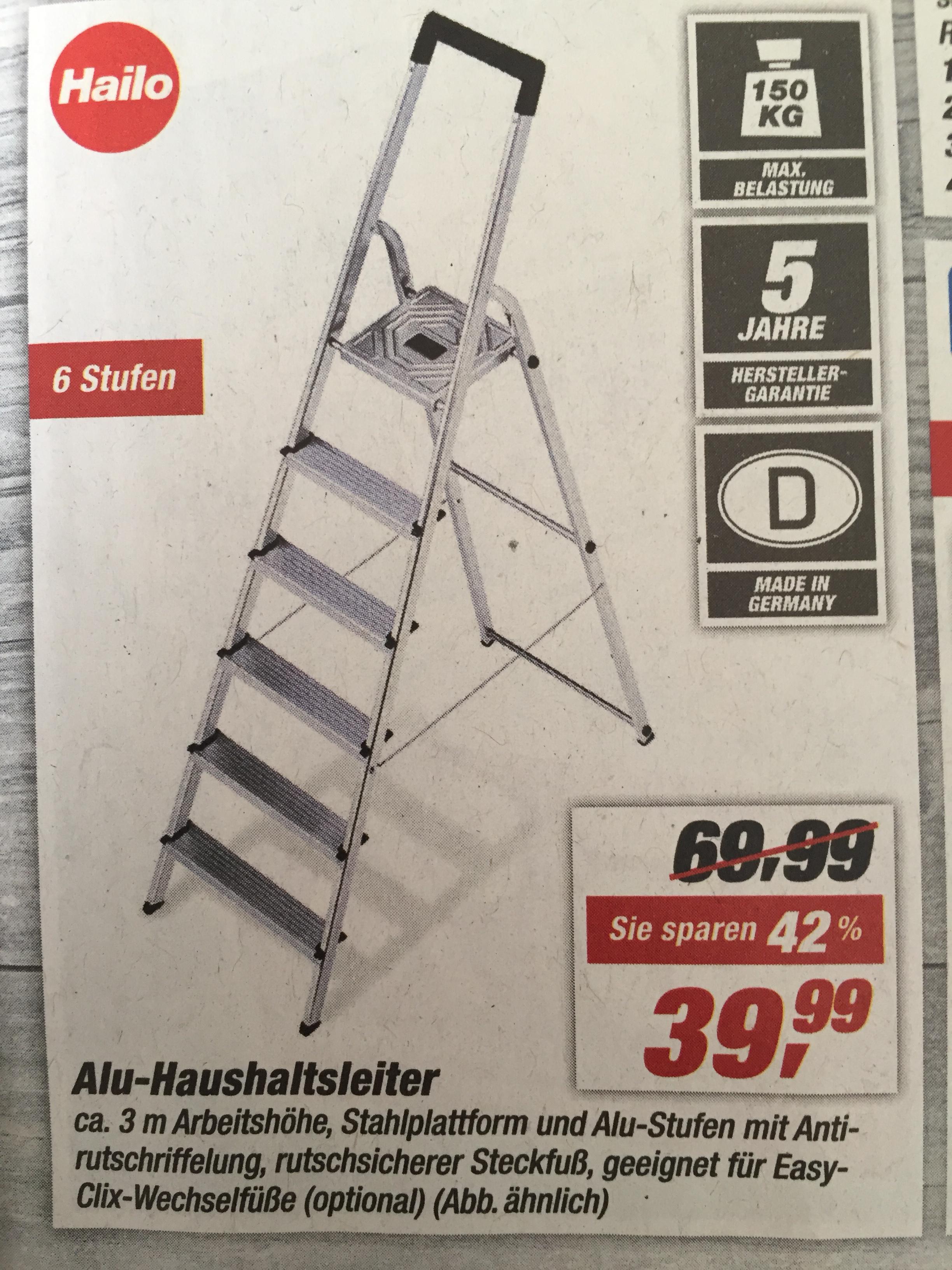 [toom Baumarkt] Hailo Alu-Haushaltsleiter 6 Stufen 3m Arbeitshöhe