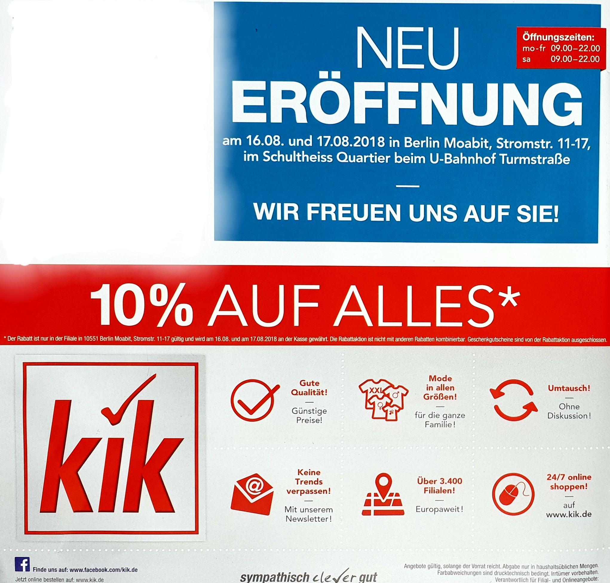 [Lokal Berlin] Schultheiss-Quartier (Moabit) 10% auf alles bei KIK - Textildiscount am 16.08 und 17.08 Bsp. 32 Zoll Xoro HTL 3246 720p Fernseher für 89€
