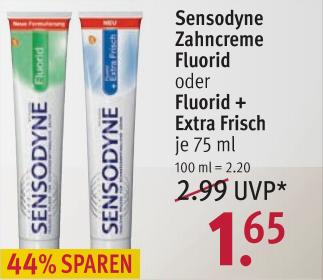 Sensodyne Zahncreme Fluorid / Extra Frish 75ml @ Rossmann