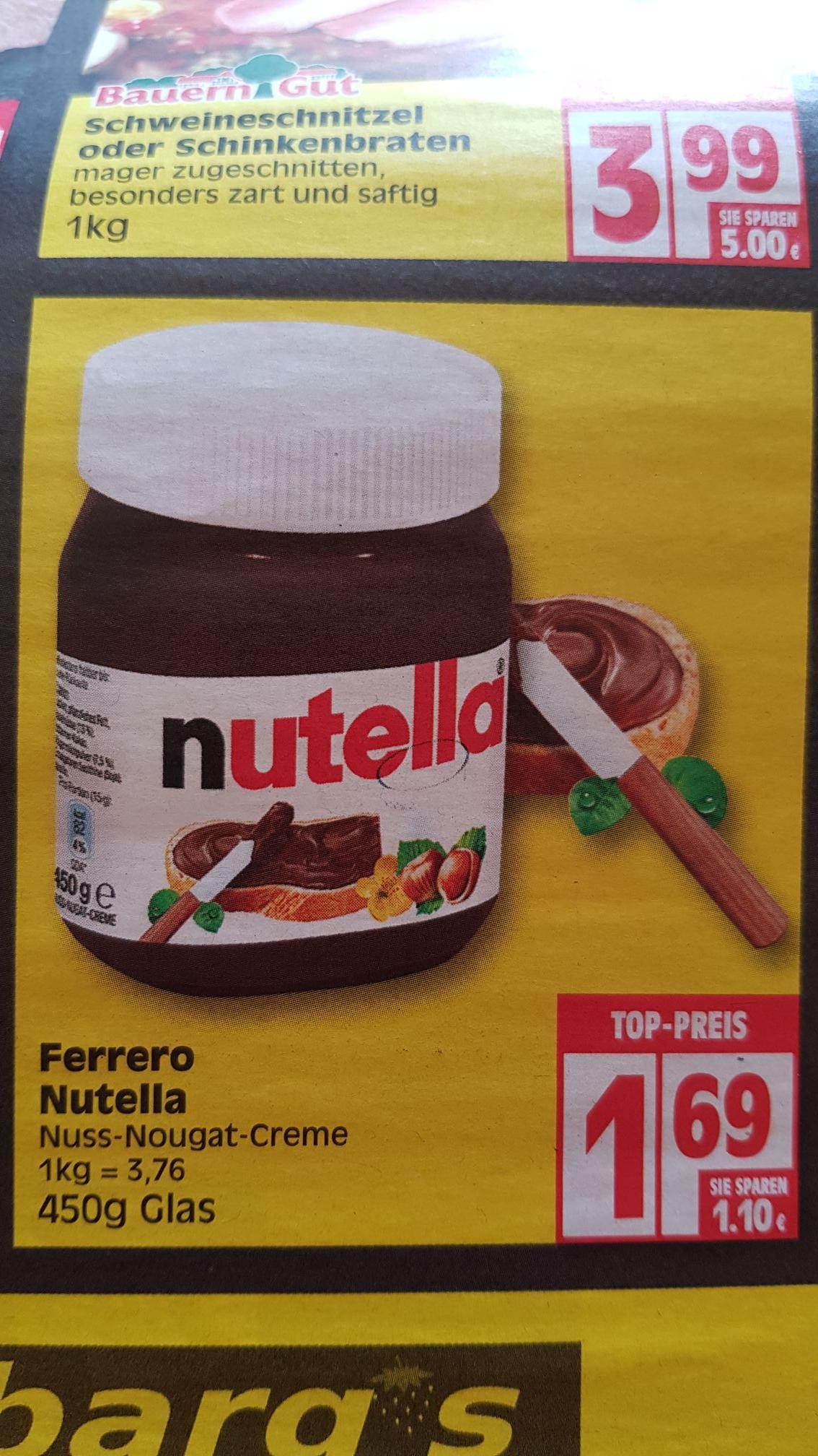 (Lokal Minden-Hannover) Nutella 450g Glas 1,69€ möglicherweise mit 10€ Bahn-Coupon