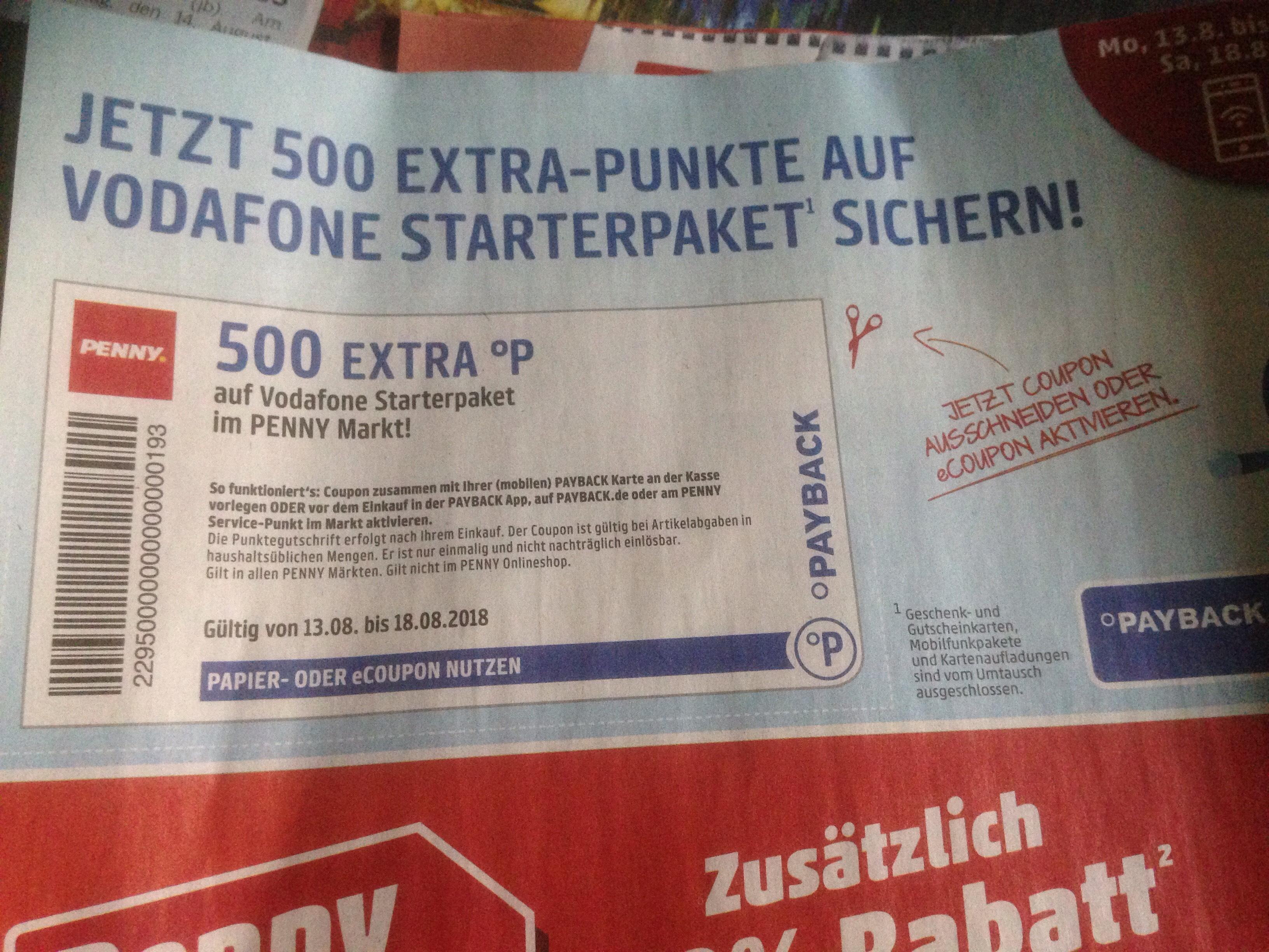 Penny Vodafone Starterpaket holen und 500 Paybackpunkte (5€) kassieren. (Lokal - eventuell Bundesweit)