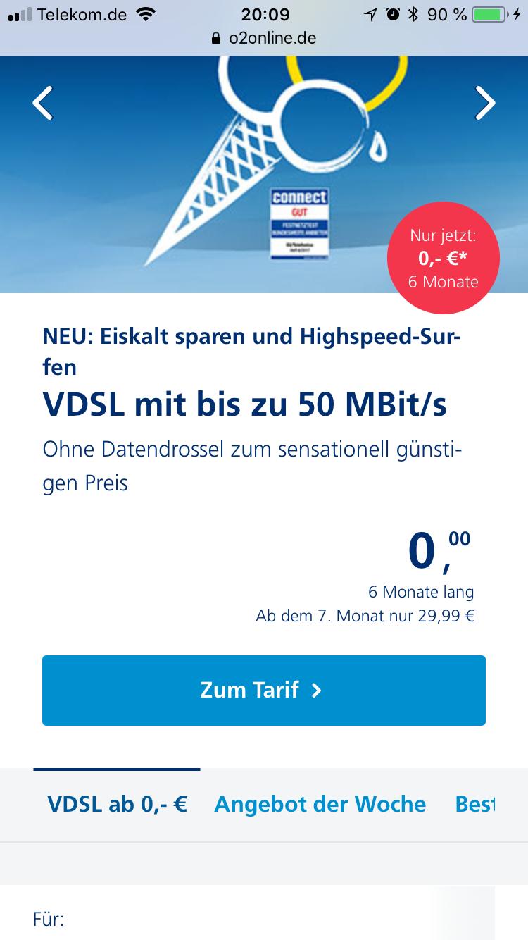 O2 DSL - Aktion! 6 Monate lang 0,- € Grundgebühr