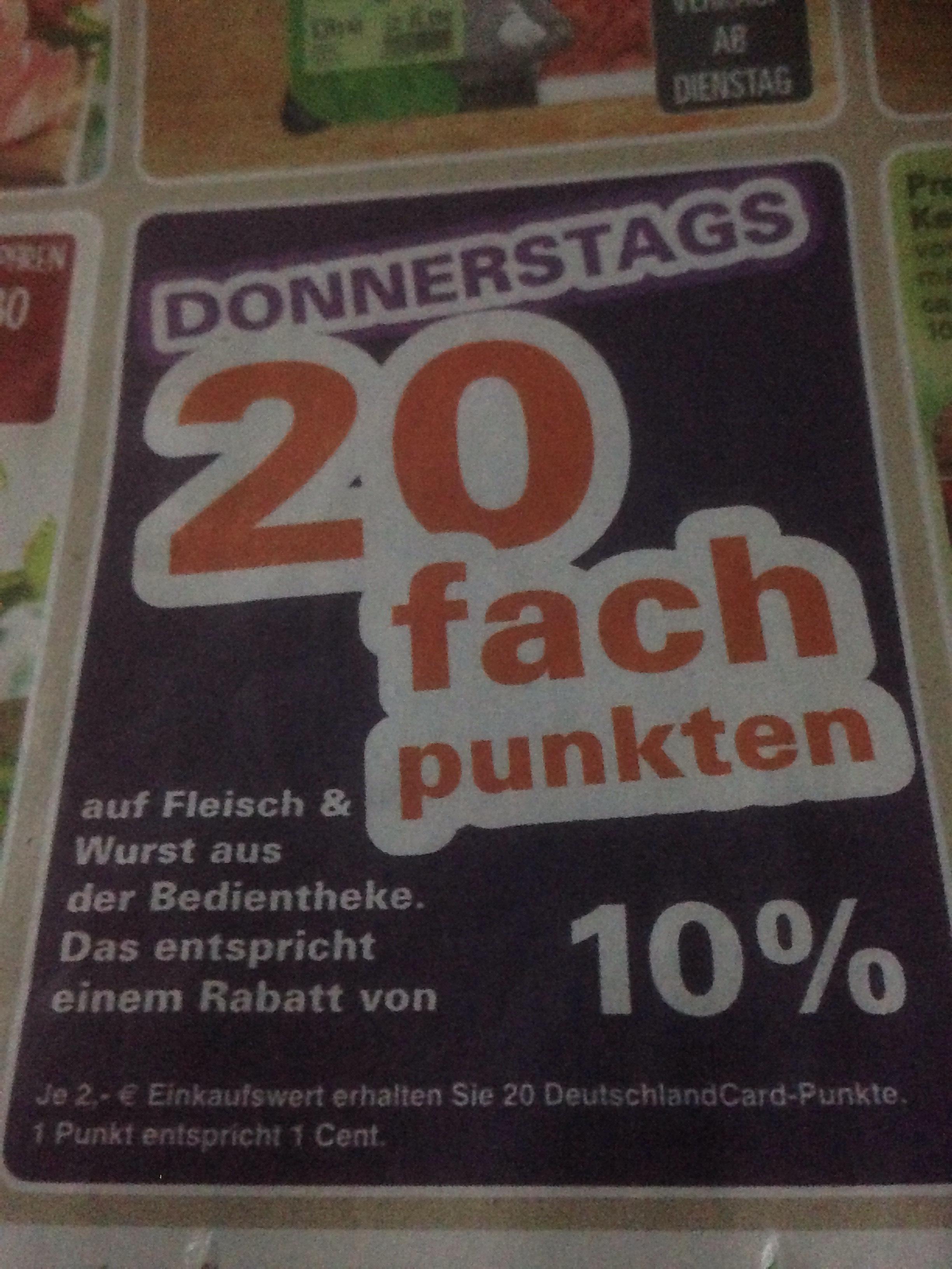 Im Wez Markt Region Minden/Schaumburg gibt es dauerhaft jeden Donnerstag 20-fache DeutschlandCard Punkte auf Fleisch/Wurst