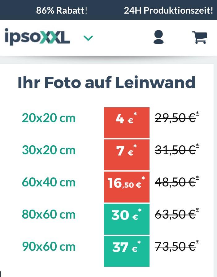 Fotos auf Leinwand ipsoXXL z.B. 60 x 40 cm
