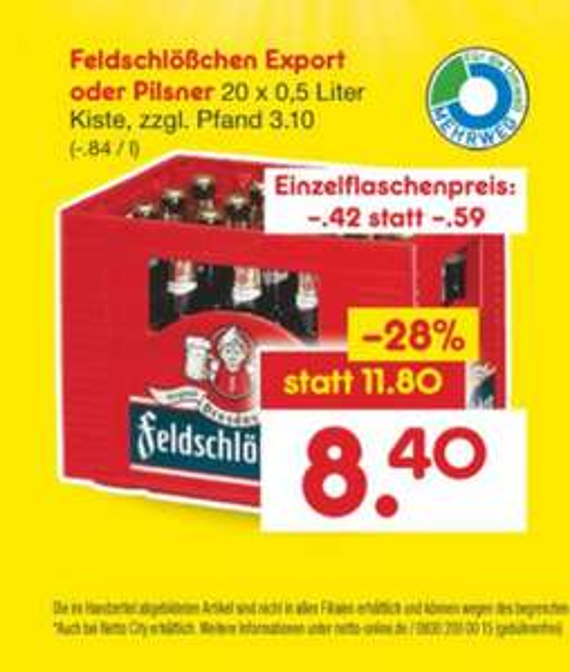 Feldschlößchen Pilsener und Export Regional (Dresden) Netto ohne Scotti