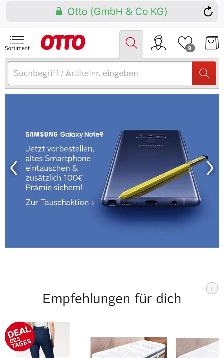 Eintauschen und Geld sparen Samsung Galaxy Note 9