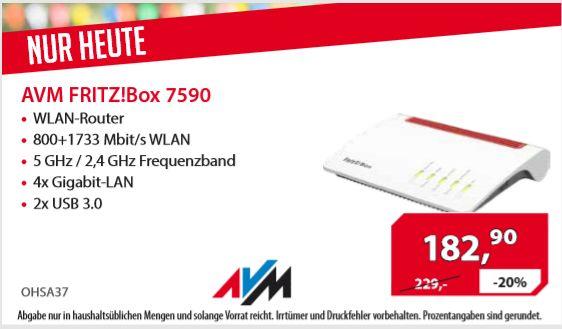 [Regional Alternate Linden nur von 11-17 Uhr] AVM Fritz!Box 7590 High-End WLAN AC + N Router (VDSL-/ADSL, 4x4 Mu-MIMO mit 1.733 (5 GHz) und 800 Mbit/s (2,4 GHz), bis zu 300 Mbit/s durch VDSL-Supervectoring 35b, DECT-Basis, Media Server) für 182,90€