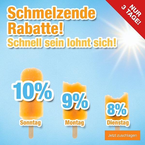Schmelzende Rabatte bei Plus.de (10%/9%/8%)