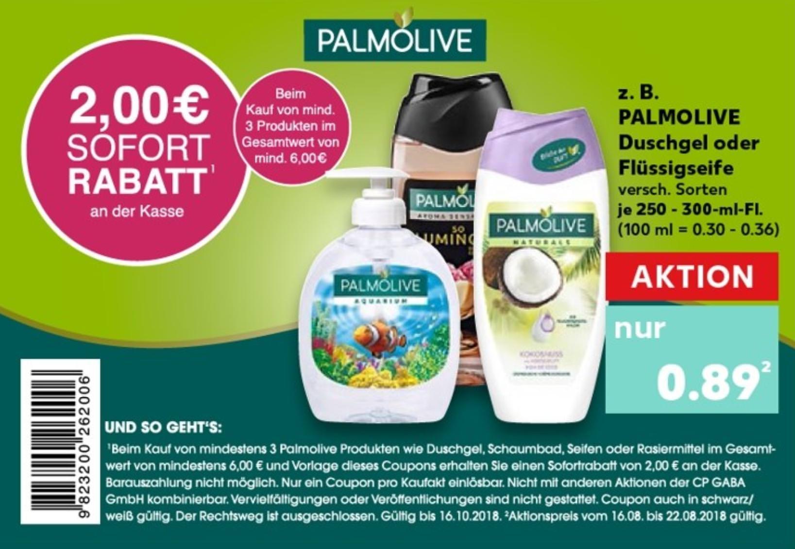 [Kaufland] Neuer 2€ Coupon für den Kauf von min. 3 Palmolive Produkten im Wert von 6€ bis 16.10.2018