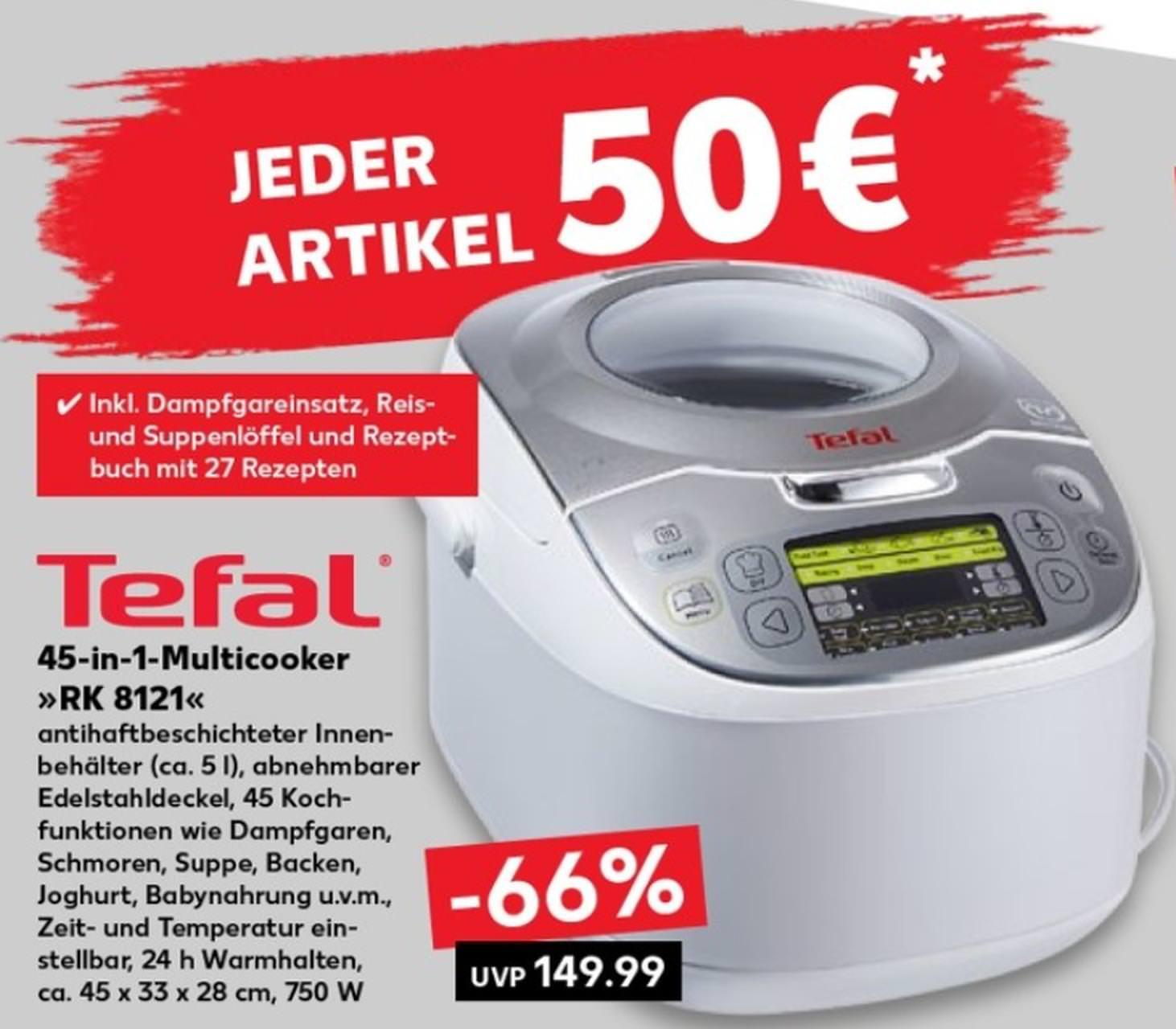 [Kaufland] Tefal 45-in-1 Multicooker RK8121 für 50€ ab 16.08.2018