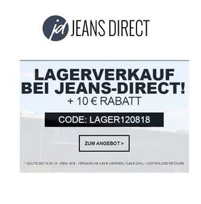 Lagerverkauf bei Jeans-Direct: Ausgewählte Artikel bis zu 70% reduziert & 10€ Extra-Rabatt ab 40€ MBW!
