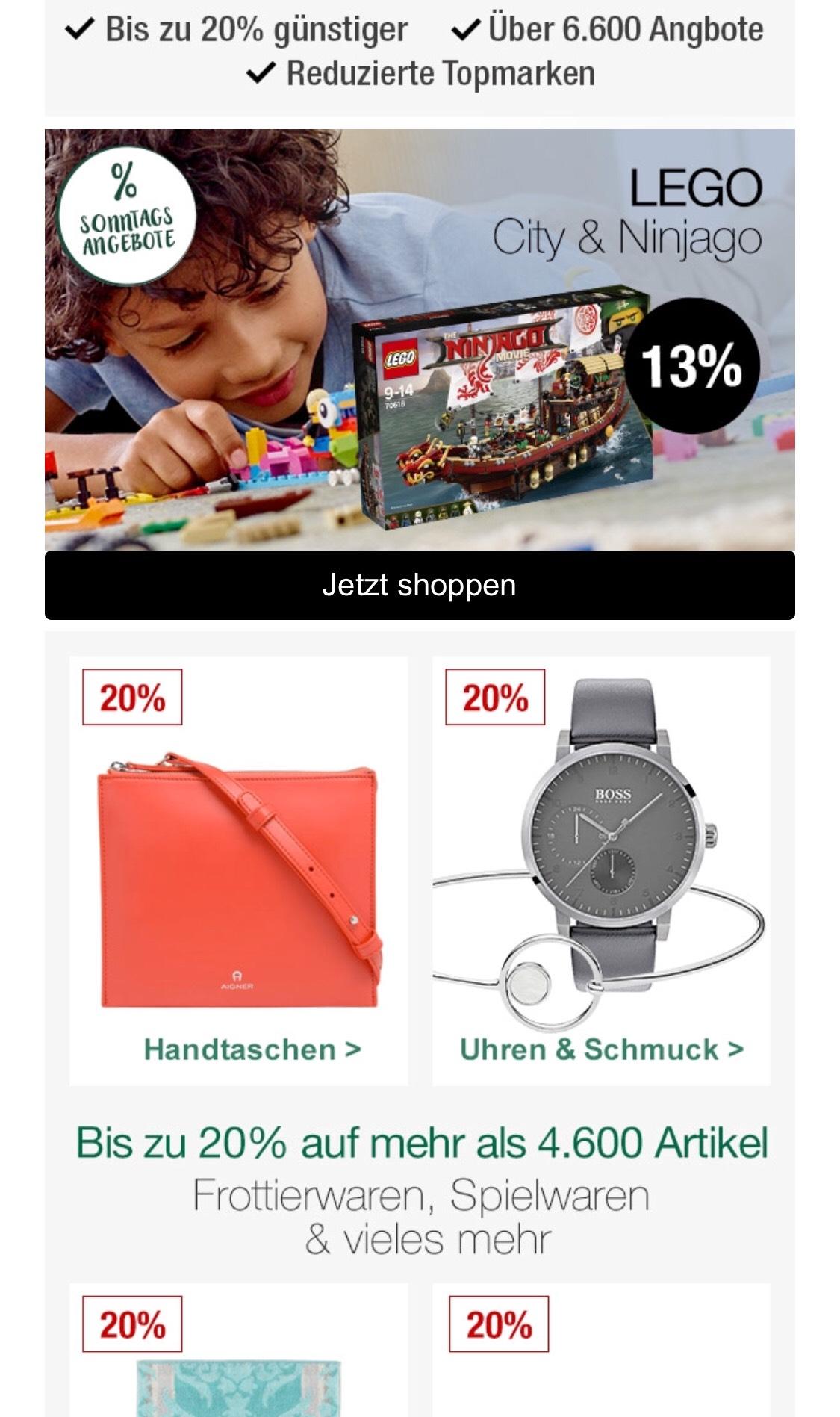 Galeria Kaufhof 20% und Nur heute:  13% auf LEGO  // Filial-News