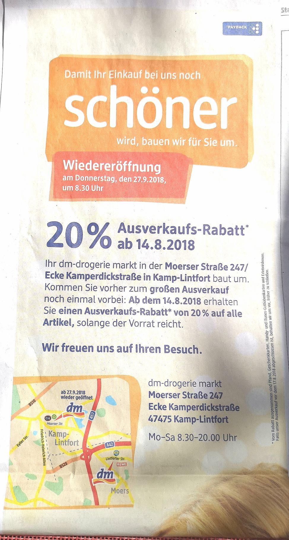 (LOKAL) 20% Ausverkaufs Rabatt* DM Drogeriemarkt Kamp-Lintfort