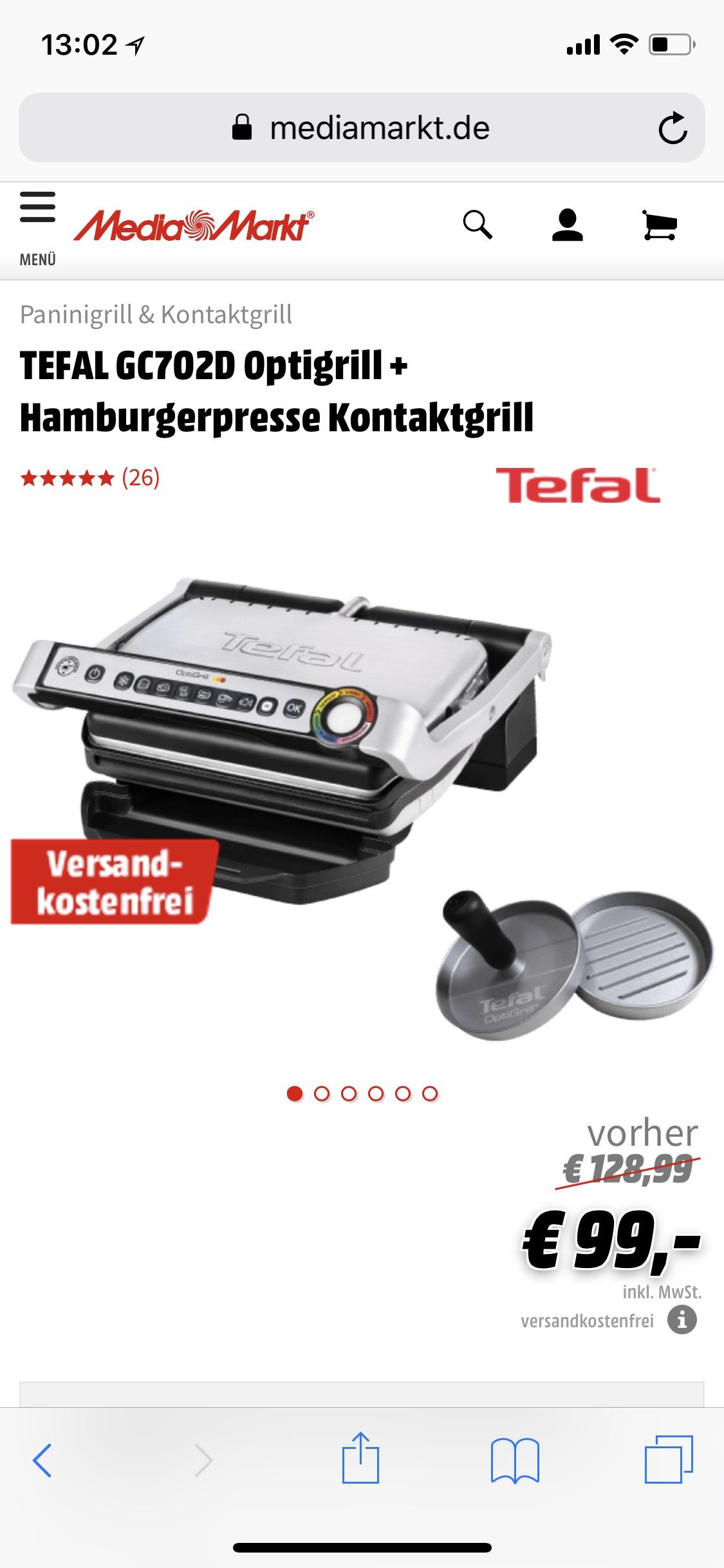 [MASTERPASS] TEFAL GC702D Optigrill + Hamburgerpresse Kontaktgrill
