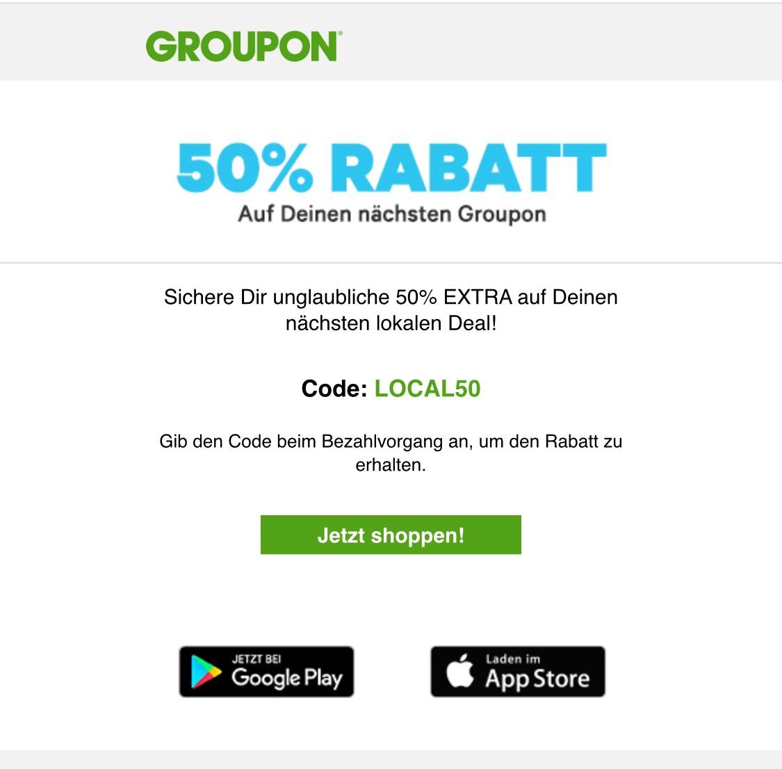 Groupon 50% Rabatt auf ein lokalen Deal. (Eventuell ausgewählte Benutzer)