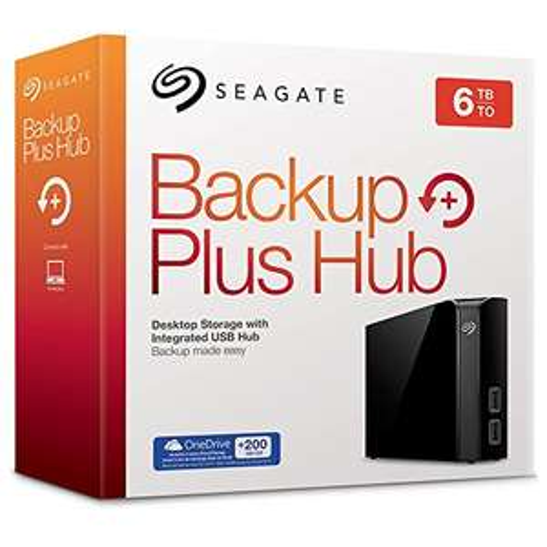 [Media-Markt + Masterpass] Seagate Backup Plus Hub 6 TB (STEL6000200), externe 3,5-Zoll-Festplatte mit integriertem USB-3.0-Hub