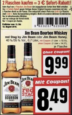 [EDEKA HESSENRING] 2 Flaschen Jim Beam 0,7l (8,49€ je Flasche)