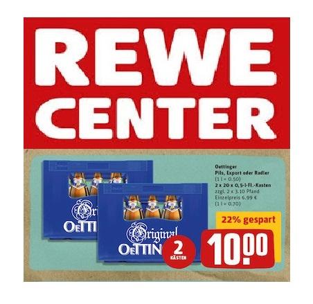 (Offline) REWE: 2 Kisten Oettinger Bier, Radler 20 x 0,5ltr.