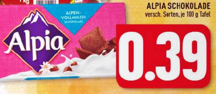 Die Alpia Tafelschokolade 100g ist bei Edeka im gesamten Ruhrgebiet extrem billig, nur 39 Cent
