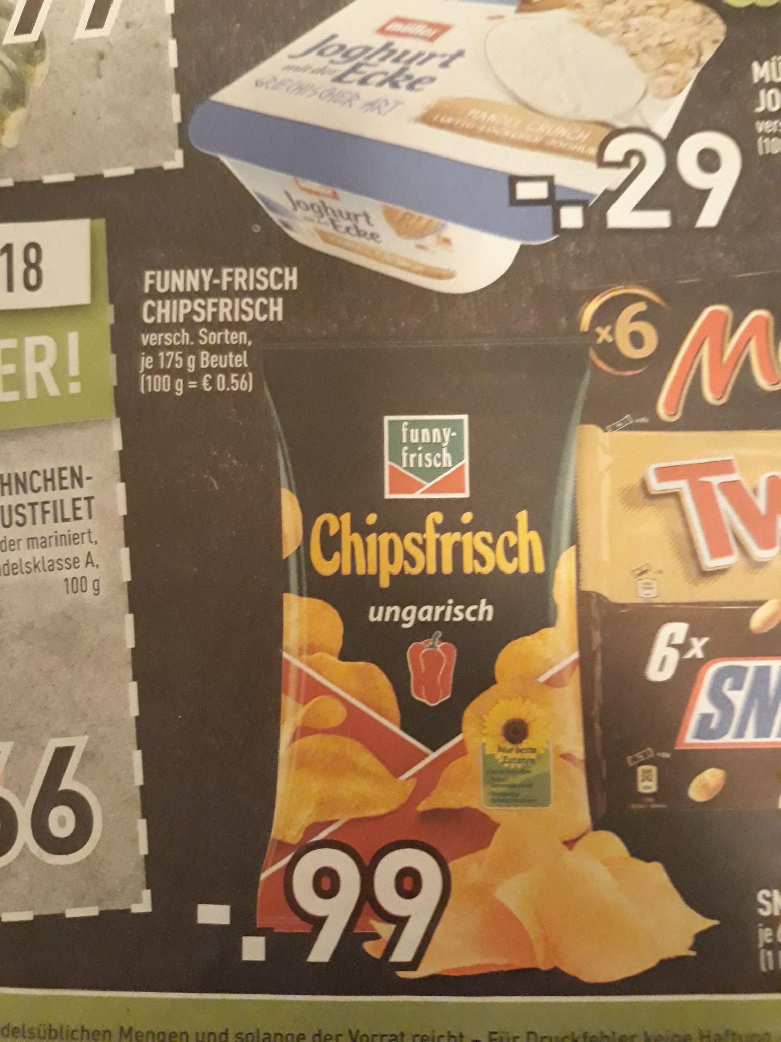 (Lokal) (Edeka App) funny-frisch Chipsfrisch 175gr verschiedene Sorten
