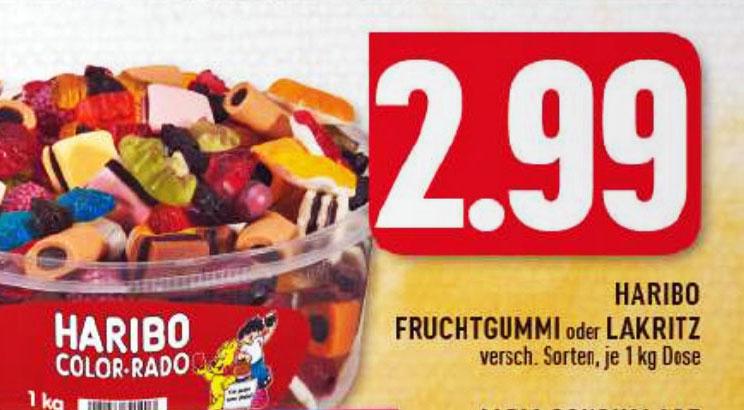 (Edeka Ruhrgebiet)  1-kg-Dose HARIBO Fruchtgummi oder Lakritz für 2,99€
